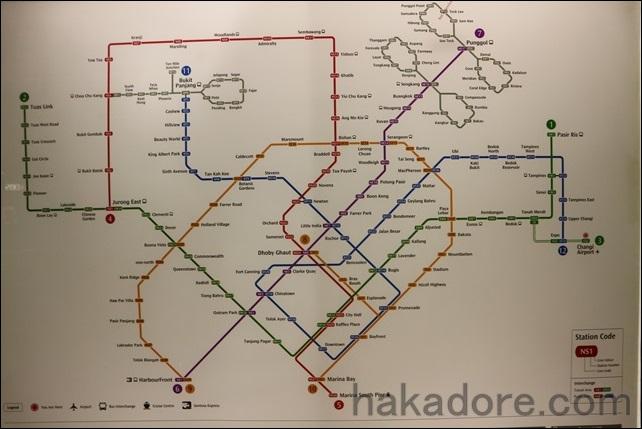 英語で記載されたシンガポールの路線図